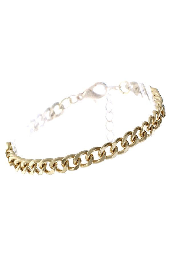 Worn Goldtone Curb Link Chain Bracelet