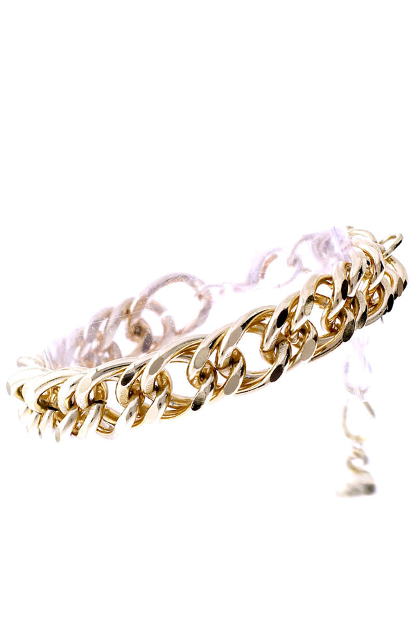 Goldtone Double Link Chain Bracelet