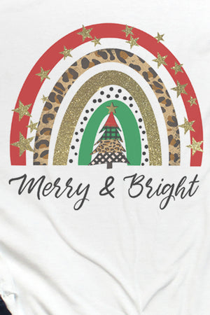 Merry & Bright Christmas Rainbow Tri-Blend Unisex 3/4 Raglan