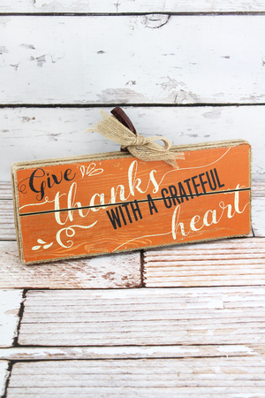 6.75 x 11 'Give Thanks' Burlap Trimmed Wood Sign