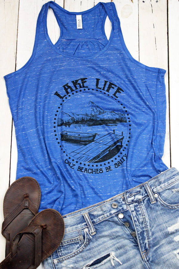 Lake Life Beaches Be Salty Flowy Racerback Tank