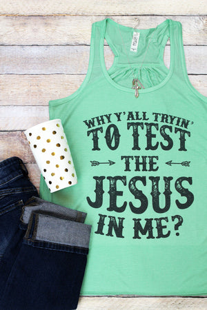 The Jesus In Me Women's Flowy Racerback Tank