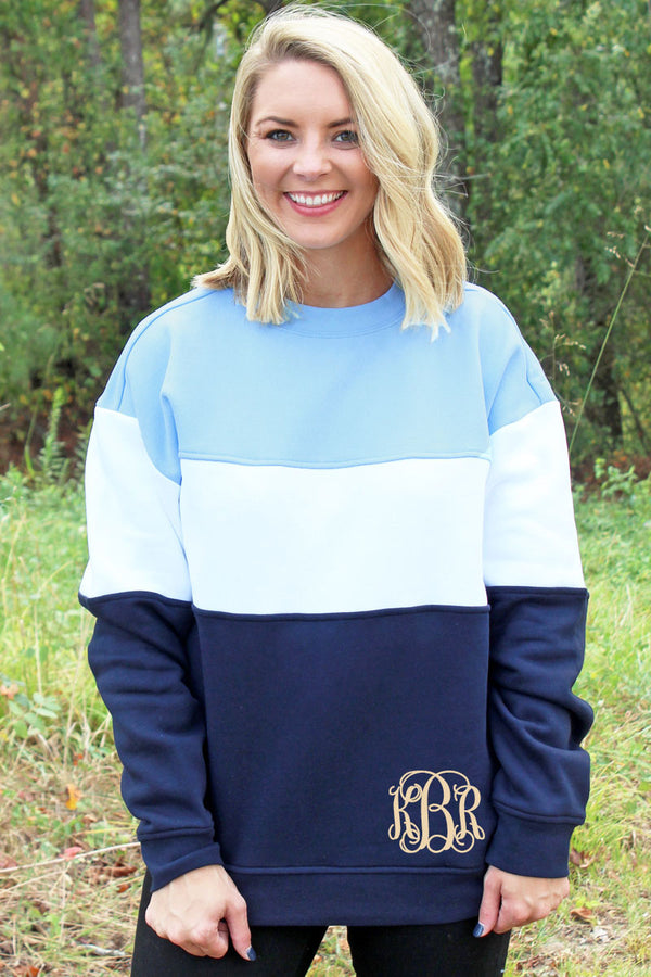 Charles River Light Blue, White, and Navy Westerly Crew Sweatshirt