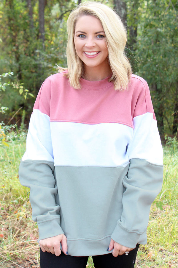 Charles River Blush, White, Light Gray Westerly Crew Sweatshirt