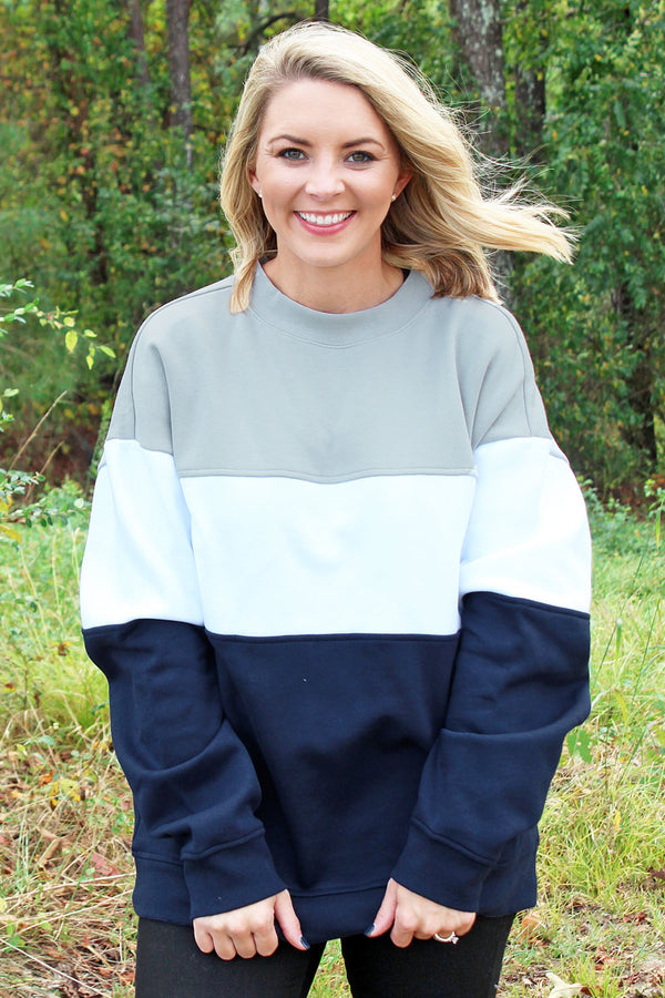 Charles River Light Gray, White, and Navy Westerly Crew Sweatshirt