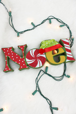 4 x 11 'Noel' Wood Tabletop Christmas Word Sign