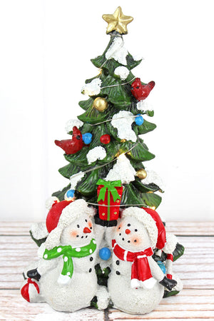 10.25 x 6.5 Resin LED Christmas Tree and Snowman Tabletop Decor