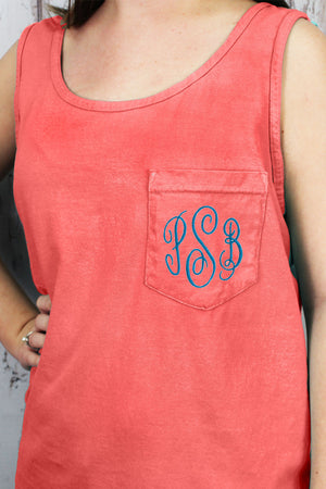 Shades of Red/Orange Comfort Colors Pocket Tank #9330 *Personalize It