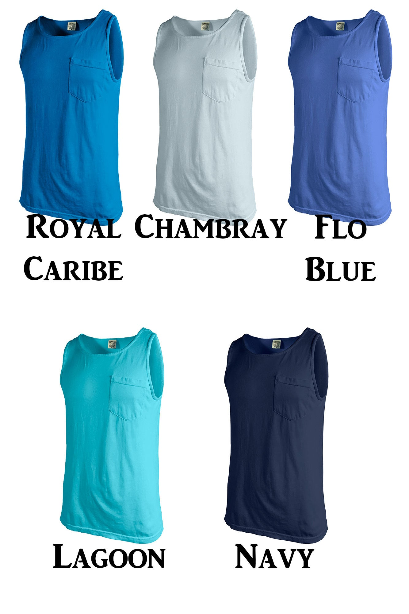 Shades of Blue fort Colors Pocket Tank 9330