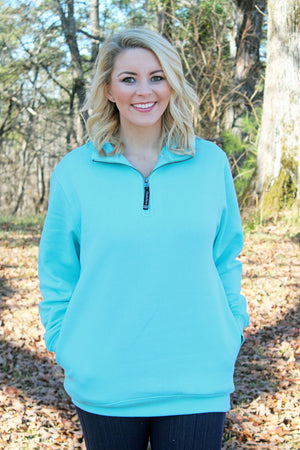 Charles River Quarter Zip Sweatshirt (Men's Cut), Aqua *Personalize It!