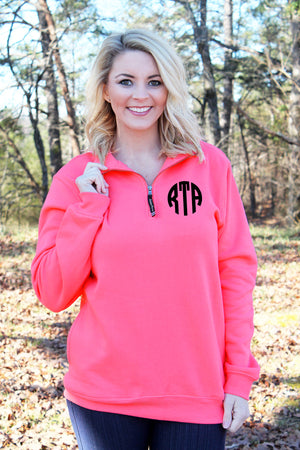 Charles River Quarter Zip Sweatshirt (Men's Cut), Preppy Pink *Personalize It!