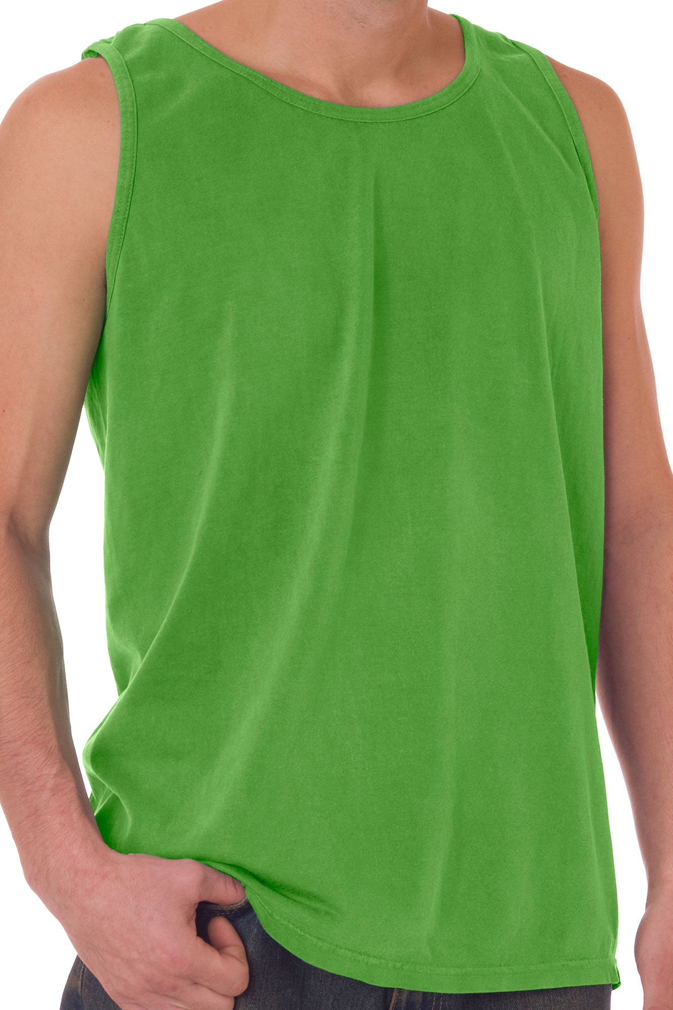 shade of green yellow comfort colors cotton tank top 9360 ewam