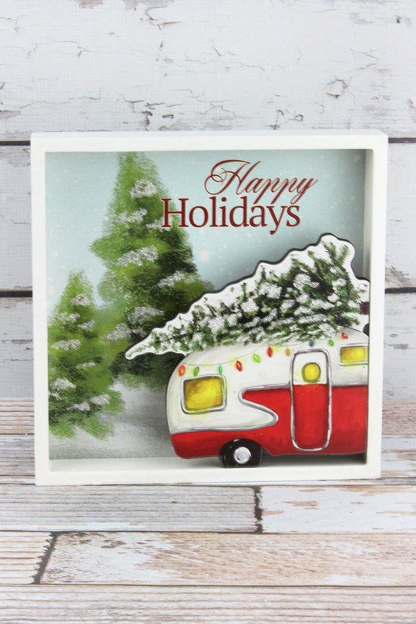 9.5 x 9.5 'Happy Holidays' Camper Box Sign
