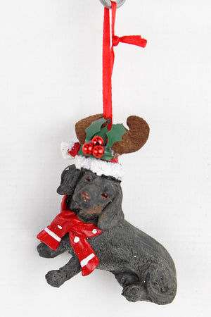 Festive Black Dachshund Resin Ornament