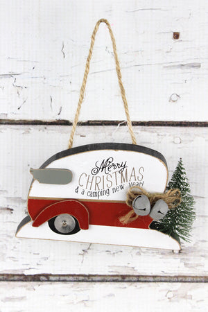 Merry Christmas Camper with Tree Ornament, 3.25""