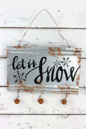 8 x 12 'Let It Snow' Metal with Jingle Bells Wall Sign
