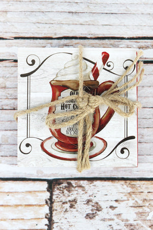 Set of Four 4 x 4 Hot Cocoa Themed Square Coasters