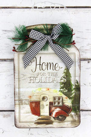11.75 x 6.25 'Home For The Holidays' Tin Mason Jar Sign