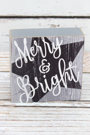 4.5 x 4.5 'Merry & Bright' Gray Wooden Sign