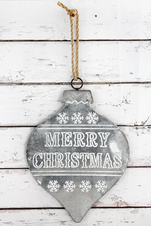 'Merry Christmas' Metal Ornament Sign