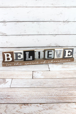 4.75 x 24.5 'Believe...' Wood and Metal Sign