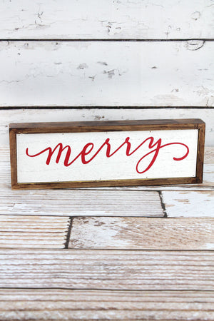 4 x 11.75 'Merry' Brown Wooden Sign