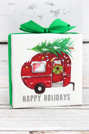 4.75 x 4.75 'Happy Holidays' Camper Canvas Sign