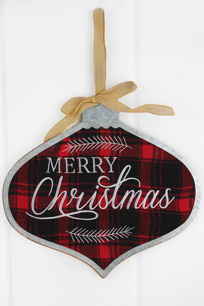 Merry Christmas Ornament Sign.11 X 11 75 Merry Christmas Metal Trimmed Plaid Wood Ornament Wall Sign