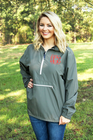 Charles River Lightweight Rain Pullover, Gray *Customizable!