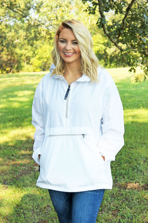 Charles River Lightweight Rain Pullover, White *Customizable!