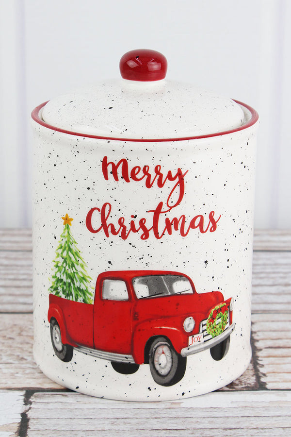 7.75 x 5 'Merry Christmas' Farm Truck Ceramic Cookie Jar