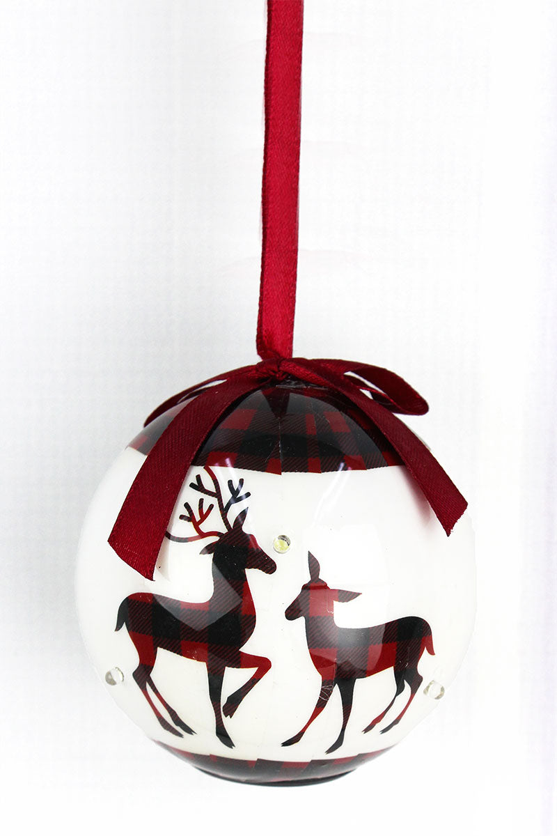 Christmas Reindeer.Blinking White And Buffalo Plaid Merry Christmas Reindeer Ornament 3 5