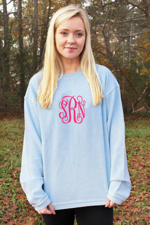 Charles River Camden Crew Neck Sweatshirt, Chambray *Personalize It!