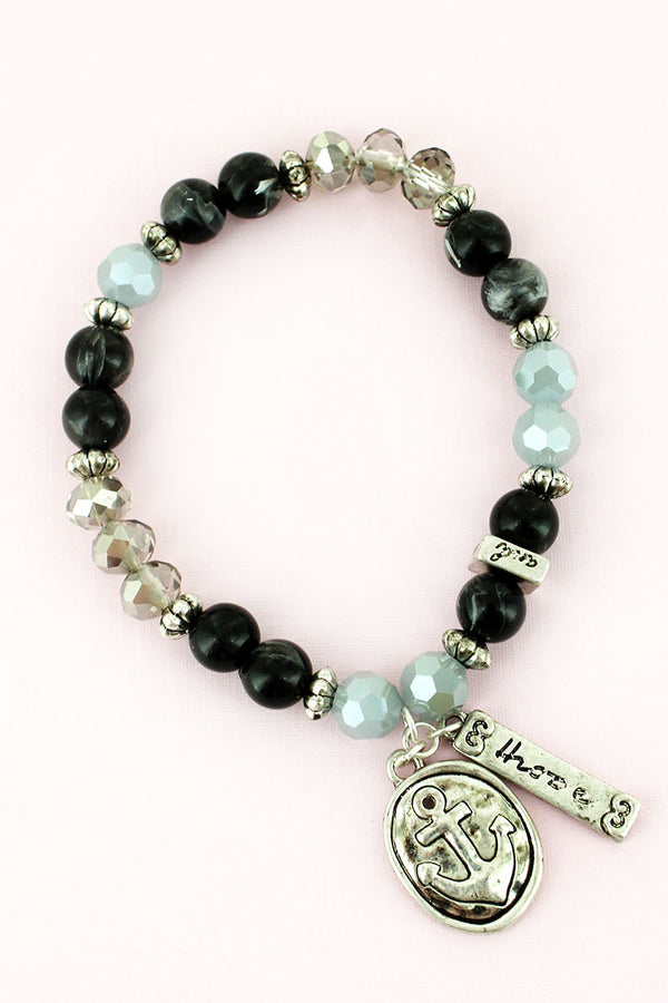Anchor and 'Hope' Charm Black Beaded Bracelet