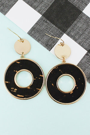 Goldtone Disk and Black Cork Circle Earrings