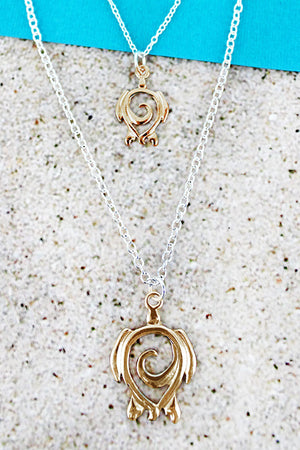 Two-Tone Sea Turtle Swirl Pendant Necklace