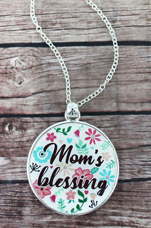 Mom's Blessing and Silvertone Scroll Double-Sided Pendant Necklace