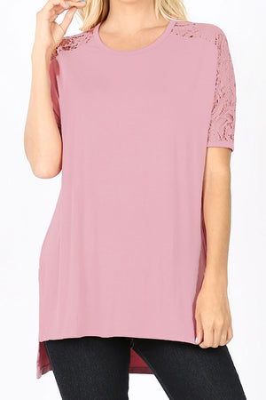 Light Rose Lace Sleeve Luxe Rayon Top