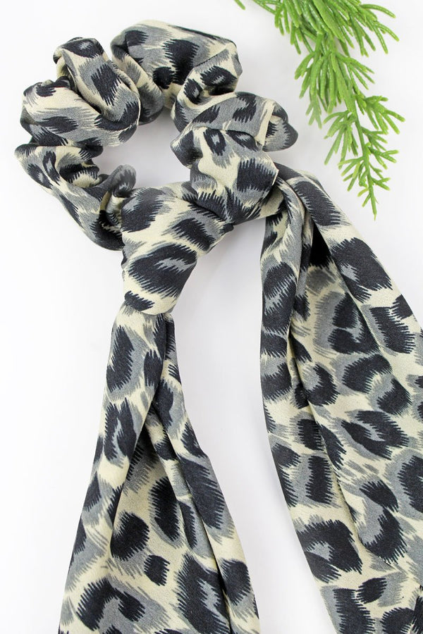 Wild Summer Gray Leopard Scarf Scrunchie