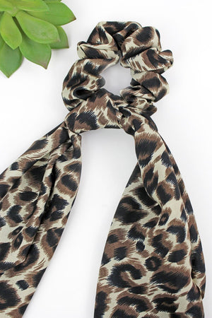Wild Summer Tan Leopard Scarf Scrunchie