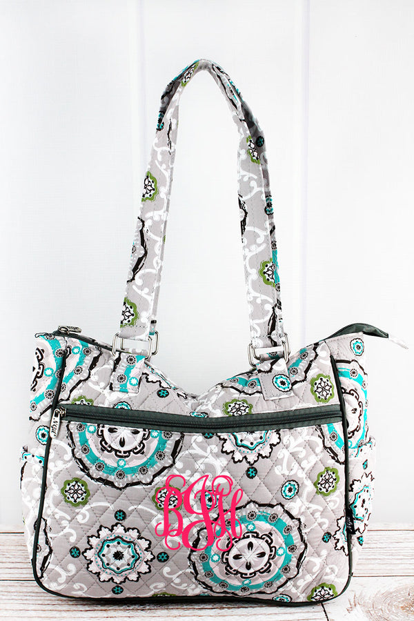 Garden View Quilted Shoulder Tote