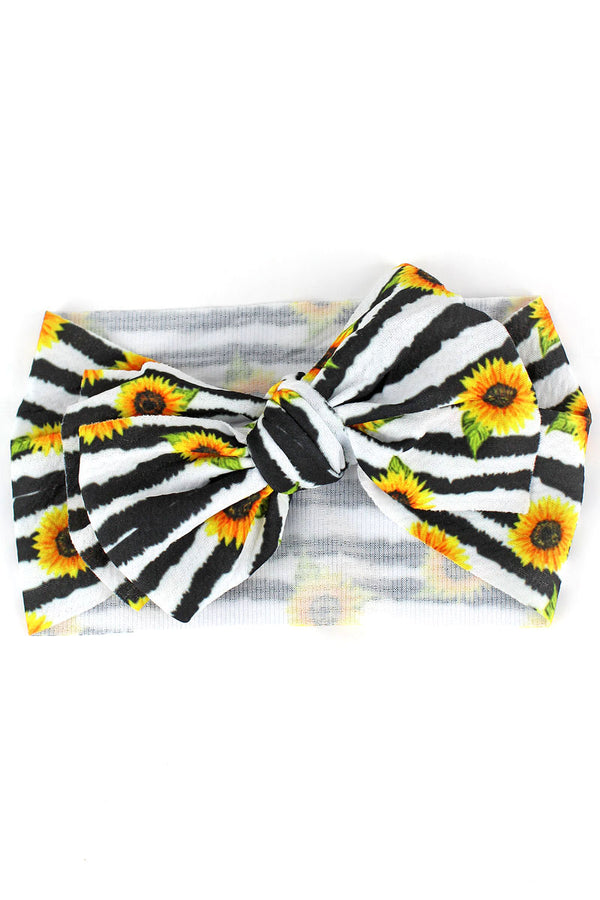 Sunflower Stripe Big Bow Baby Headband