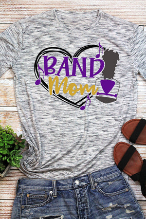 Band Mom - Purple & Gold Unisex White Marble Short Sleeve Tee