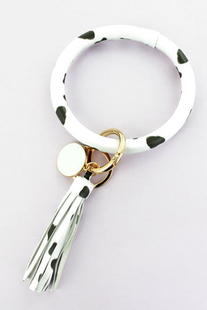 Get A Moove On Faux Leather Tassel Bangle Keychain