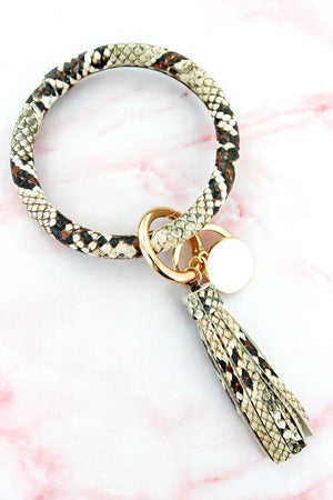 Snakeskin Faux Leather Tassel Bangle Keychain