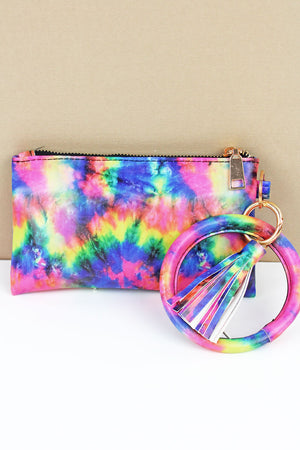 Rainbow Tie-Dye Bangle Wristlet