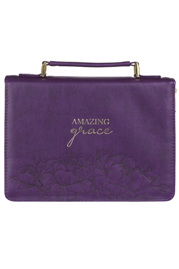 Amazing Grace Purple LuxLeather Large Bible Cover