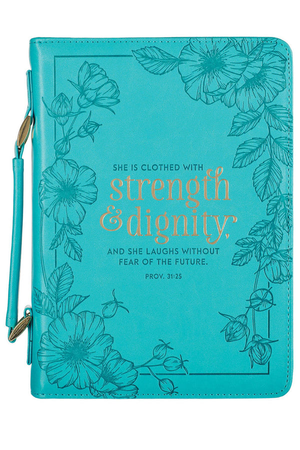 Strength & Dignity Teal LuxLeather Large Bible Cover