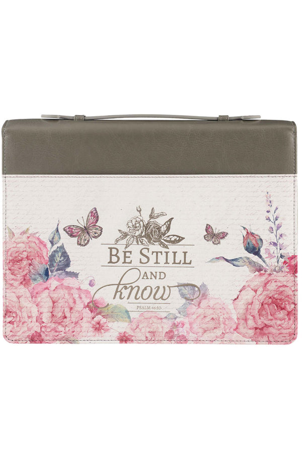 Be Still And Know Floral LuxLeather Large Bible Cover