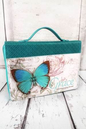 Teal Ephesians 2:8 'Grace' Butterfly Bible Cover #BBL603